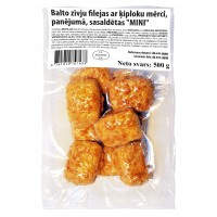 White fish fillet breaded MINI with garlic sauce (8*0.500 kg) 40 % fillets, Poland
