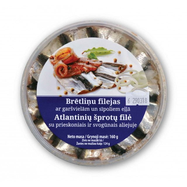 Sprat fillet with spices and onions in oil, 160g