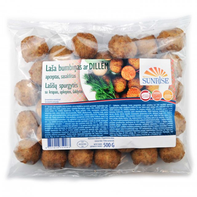 Salmon meat balls with dill, fried, 500g, Latvia