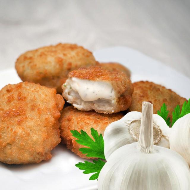 White fish fillets breaded MINI with garlic sauce, 50g/pcs, (40% fillets), 5kg box