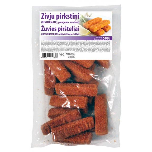 Breaded Fish fillets fingers 30 gr/pcs (65% fillet), 500g