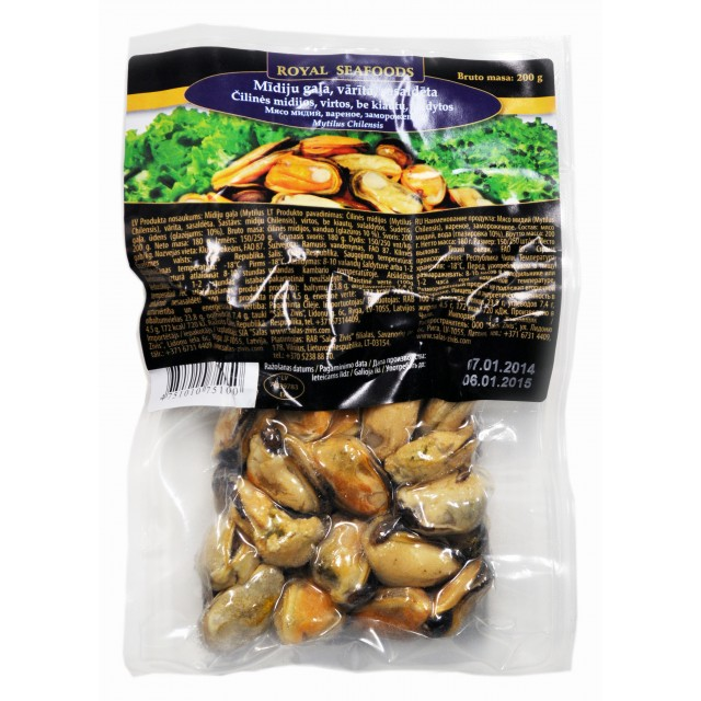Mussel meat, cooked 200/300 Chile (16x200g) 10% Royal Seafoods